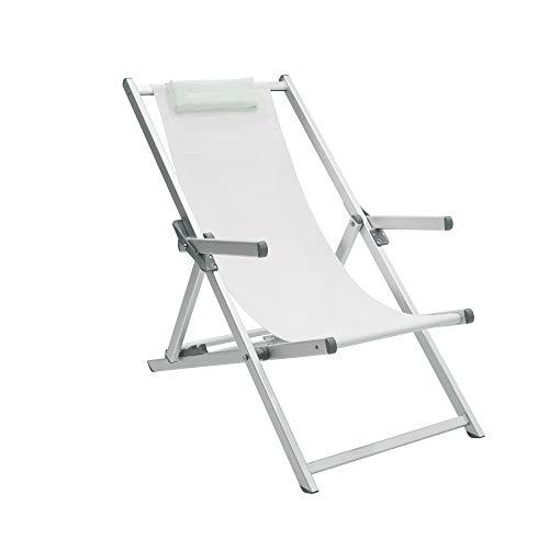 Sedia sdraio in alluminio prendisole da giardino, terrazzo e spiaggia con telo traspirante in textilene bianco con cuscino poggiatesta e braccioli reclinabile 4 posizioni