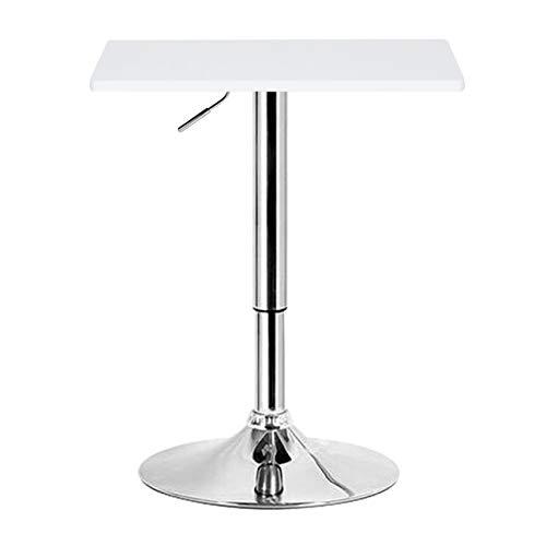 eSituro SBST0095 1 x Bartisch Esstisch Küchentisch Stehtisch, höhenverstellbar & 360° drehbar, Tischplatte 60x60 cm, Weiss
