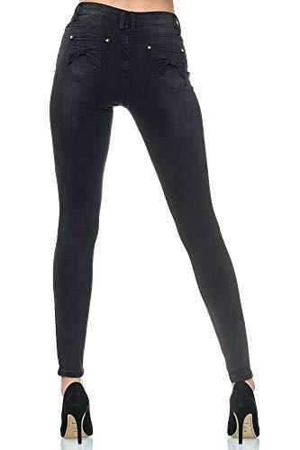 Elara Damen Jeans High Waist Slim Fit Chunkyrayan YA303 Black Used-36 (S)