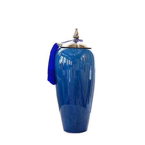 jbshop Vasi Ceramica Boutique Vaso Ornamenti European Home Decoration Entrata di Lusso TV Cabinet Blue Countertop Vaso Vasi per Arredamento (Size : A)