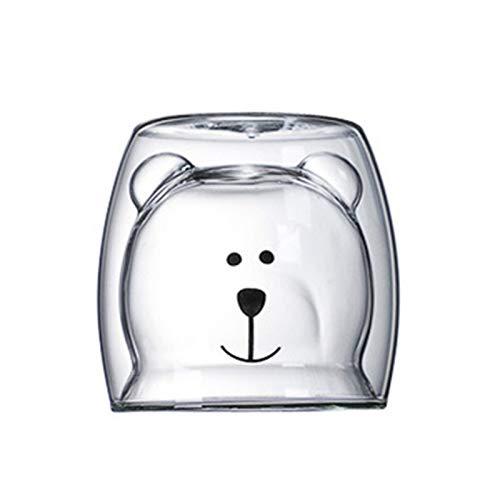 lvenyz Lindo oso en forma de doble pared taza de vidrio para evitar quemaduras de dibujos animados lindo doble vidrio leche café taza redonda bebida