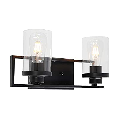 MELUCEE 2-Light Black Wall Sconce Vanity Lights with Clear Glass Shade, Industrial Bathroom Light Fixture Wall Mount Lamp for Bedroom Dressing Table Mirror Cabinets