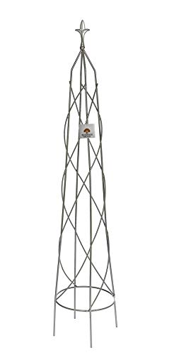 Ruddings Wood Garden Obelisk Metal Climbing Plant Support Cage Trellis Sweet Pea Tall Frame French Grey 130cm high