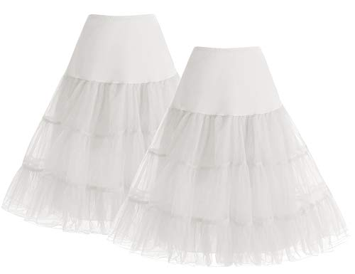 Bbonlinedress 1950 Petticoat Reifrock Unterrock Petticoat Underskirt Crinoline für Rockabilly Kleid White+White S