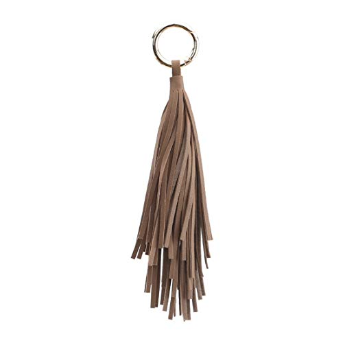 EMFGJ - Llavero de piel para mujer, diseño de borla, color marrón