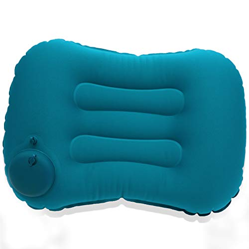 Inflatable Travel Pillow Protable Hand Press TPU Inflatable Pillow for Camping, Compressible Ergonomic Neck & Lumbar Support Perfect for Beach, Backpacking, Road Trips and Airplanes (Blue)