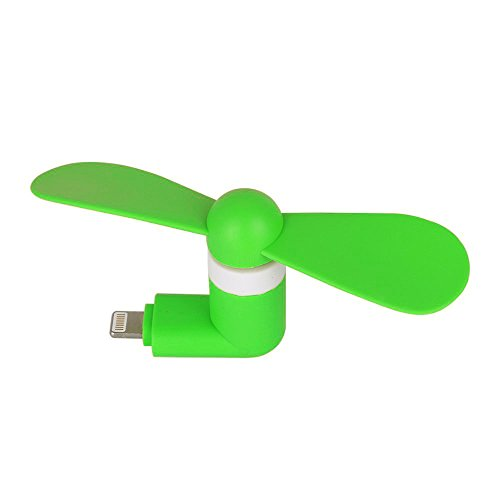 Aohro USB Telefono Mini Ventilatore Portatile 2 in 1 Micro USB Cooling Fan con due foglie per Apple iPhone 6/6S & 6 Plus/6s Plus & iPhone 5/5S, iPad Air - Verde