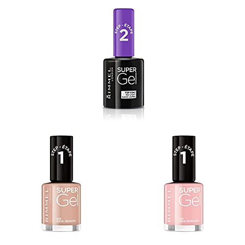 Rimmel London Pack Super Gel, Esmaltes de uñas Tonos 12, 21 y Top Coat