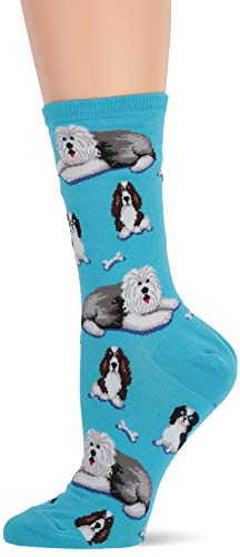 Hot Sox Women's Animal Series Novelty Casual Crew, Dogs and Bones (Light Turquoise), Shoe Size: 4-10 (Sock Size: 9-11)