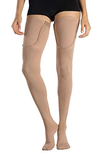 MD Medias de Calidad Médica 15-20mmHg Anti-embolia Graduadas Calcetines de Compresión hasta el Muslo Calcetines de Soporte para Hombres y Mujeres Punta Cerrada NudeL