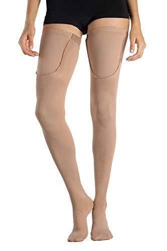 +MD Kompressionsstrümpfe 15-20mmHg abgestufte Schenkelstrümpfe Oberschenkel Stützsocken für Damen und Herren mit geschlossener Fußspitze NudeL