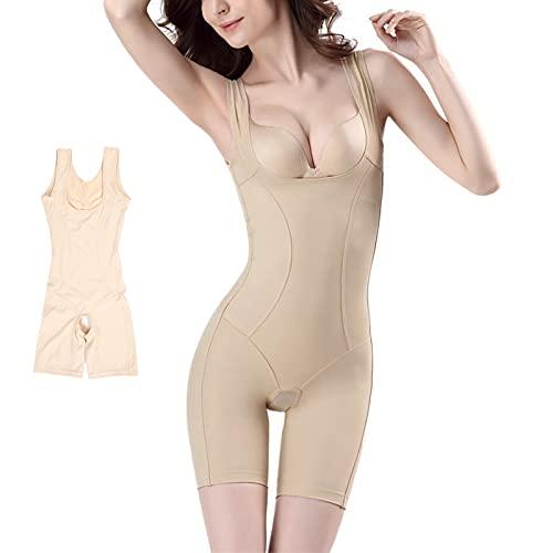 Fajas para mujer, Fajas para el cuerpo con entrepierna abierta Levantador de glúteos para adelgazar Entrenador de cintura Control de abdomen Body para mujer (Caqui)(L)