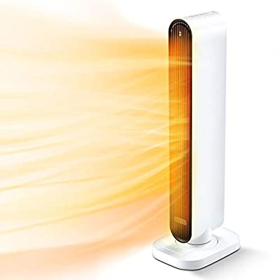 32-inch Space Heater, 1500W PTC 3S Fast Heating Ceramic Heater 60 °Oscillating Electric Heater w/Remote Control & Thermostat, 6H Timer, Overheating & Tip-Over Protection for Large Room Indoor Use