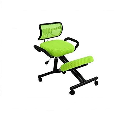 Entrenador de inversión de yoga de banco de parada Oficina de silla de arrodillamiento ergonómico móvil con taburete ajustable del asiento de dolor de espalda ortopédico con 4 ruedas, silla de trabajo