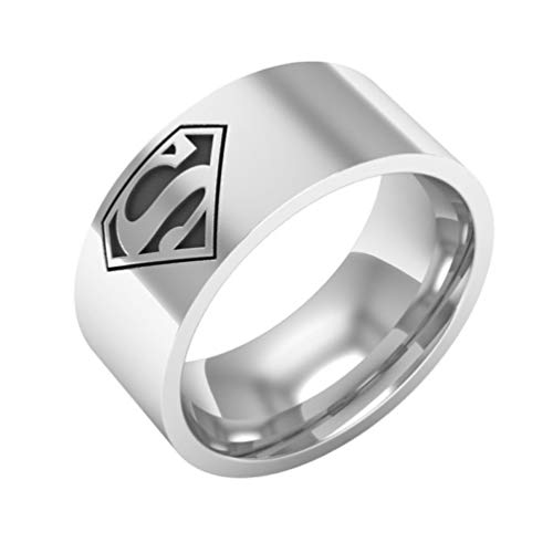 Sping Jewelry Anillo de Superman de Acero de Titanio de 8 mm de Ancho para Hombre, Talla 6  13
