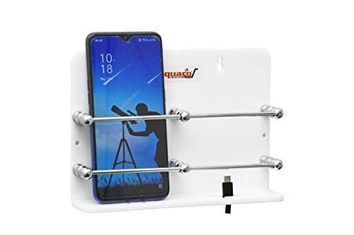 SQUARO Acrylic Double Mobile Stand Dual Phone Charging Holder TV AC Remote Stand for Home (White)
