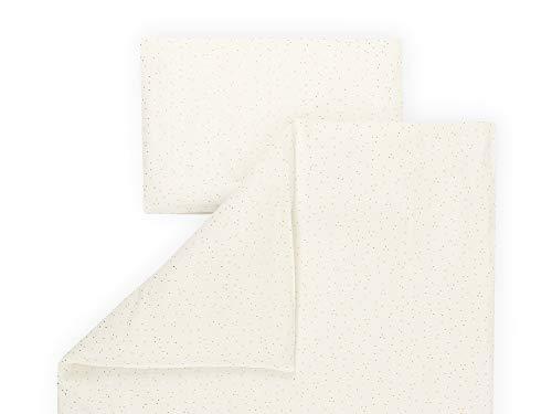 KraftKids Bettwäsche-Set Musselin goldene Punkte auf Weiß aus Kopfkissen 40 x 60 cm und Bettdecke 135 x 100 cm, Bettbezug aus Baumwolle, handgearbeitete Bettwäsche gefertigt in der EU