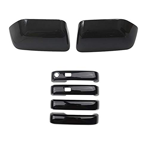 YOUNGERCAR Gloss Black Rearview Mirror + 4Dr Handle Covers for 17-20 Ford F-250 / F-350 Super Duty | 17-20 Ford F-450 | 17 Ford F-550 - ABS