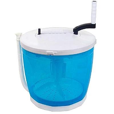 ZWHDS 2-in-1 Mini Washing Machine and Spin Dryer - Portable Manual Washing Machine, Hand Cranking, Dual Wash Cycles, Compact Design, dual handle pulsator blue