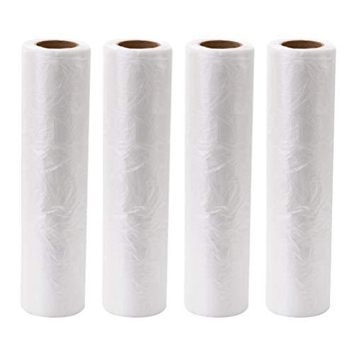 BESTonZON 4 Rollo de Bolsas de Frutas y Verduras de Polietileno Bolsas de Plástico Transparente Alimentos Embalaje Paquete para Cortar Panadería Tienda (40X30 CM)