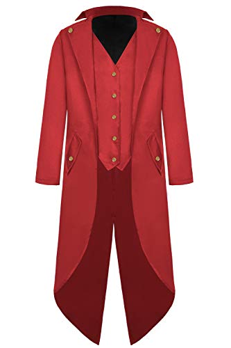 Mens Steampunk Tailcoat Jacket Vintage Gothic Victorian Long Frock Coat Uniform Halloween Cosplay Costume Y097RL Red