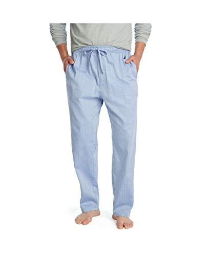 Nautica Men's Soft Woven 100% Cotton Elastic Waistband Sleep Pajama Pant, Blue Bone, Small