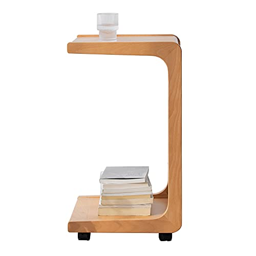HAIZHEN Mesas de sofá Mesa lateral C para sofá, mesa auxiliar de madera con ruedas móviles, sala de estar 2 niveles, mesa de aperitivos para espacios pequeños, mesas de aperitivos