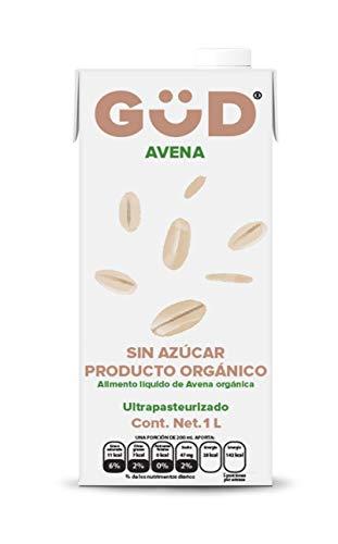 GÜD Leche de Avena Orgánica Sin Azúcar, 1 Litro x 12 Piezas