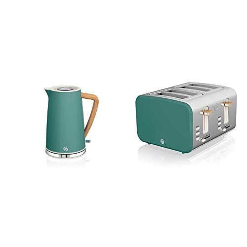 Swan Nordic 1.7 Litre Jug Kettle and 4 Slice Toaster Slate Pine Green