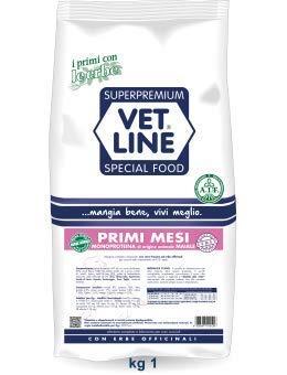 vet line monoproteico Primi Mesi Puppy Maiale 1 kg crocchette per Cuccioli Cani con Erbe officinali
