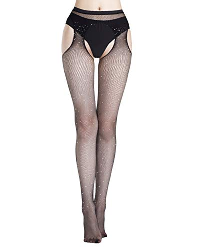 Shecret Suspender Pantyhose Womens Fishnet Tights Thigh-High Stockings Black