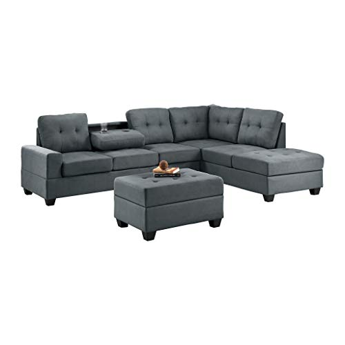 Homelegance Fabric Sectional Sofa and Ottoman Set, Dark Gray