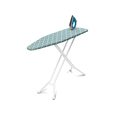 HOMZ 4-Leg Steel Top Ironing Board, Blue Lattice Cover