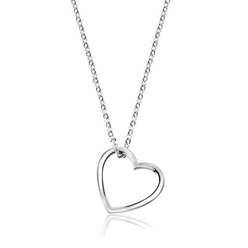 Nuoli® Herz Kette Damen Silber (45cm + 5cm verstellbar) Halskette mit Herzanhänger für Frauen & Mädchen, aus poliertem Edelstahl