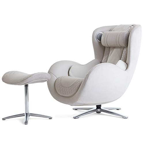 Nouhaus Classic Massage Chair with Ottoman. White Leather Chair, with Percussive & Shiatsu Chair...