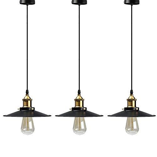 3PCS Lámpara de colgante industrial vintage, Home-Neat luz de techo pantalla de metal E27 para Sala de Estar Cocina Restaurante, Negro