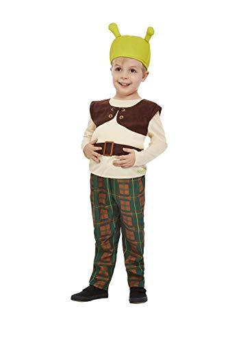 Smiffys Disfraz de Shrek oficial 52359T2, para niños, verde, para niños de 3 a 4 años