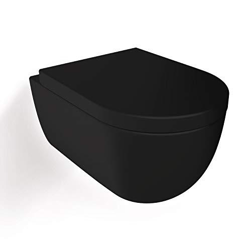 Soho Hänge Compact Wand WC Spülrandlos/RIMLESS Toilette/Schwarz Matt/Keramik/mit Duroplast Softclose WC Sitz