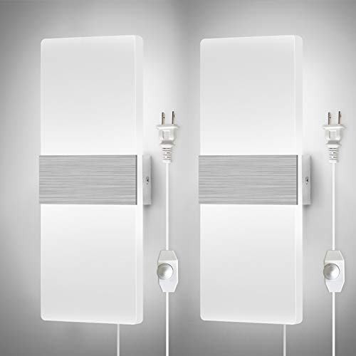 Dimmable Wall Sconces Plug in Set of 2, LIGHTESS Modern Wall Lamp 12W Acrylic LED Wall Light Fixture for Living Room Bedroom Corridor, Cool White