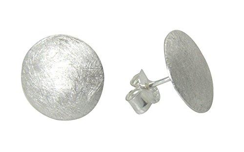 Scheiben Ohrstecker hochwertige Goldschmiedearbeit aus Deutschland (Sterlingsilber 925, mattiert, anlaufgeschützt) Durchmesser 13 mm, Silber Ohrstecker Damen Ohrringe Stecker