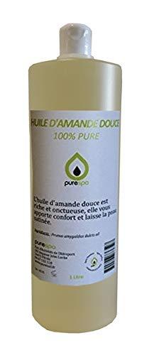 Huile d' AMANDE DOUCE pressée à froid- 100% Pure - 1 Litre , Purespa By Purenail, soin du corps et de la peau