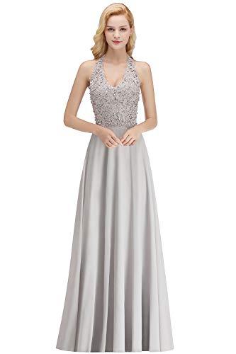 MisShow Damen Abendkleider elegant für Hochzeit lang Neckholder Ärmellos Ballkleider Abiballkleider mit Perlen Prom Kleider Silber 40