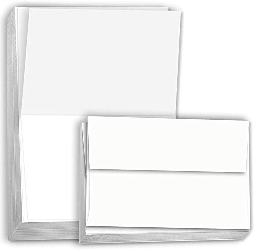 Hamilco Blank Cards and Envelopes White Cardstock Paper 4.5' x 6.25' A6 Folded Cards with Envelopes 100 Pack