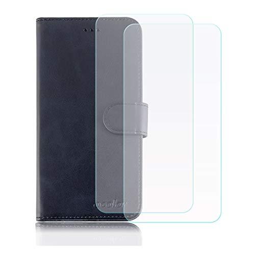 DQG Funda para Vernee Apollo Lite Flip Folio Caja PU Cuero Caso Soporte Billetera Tapa Carcasa + [2 Piezas] Cristal Templado Protector de Pantalla para Vernee Apollo Lite (5.5