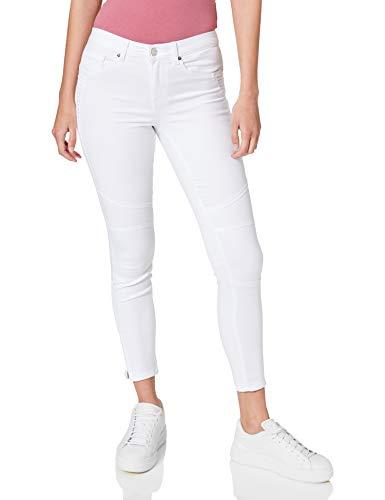 Only ONLROYAL Life REG SK BIKR Zip ANK PIM36 Jeans, Blanc, L Femme