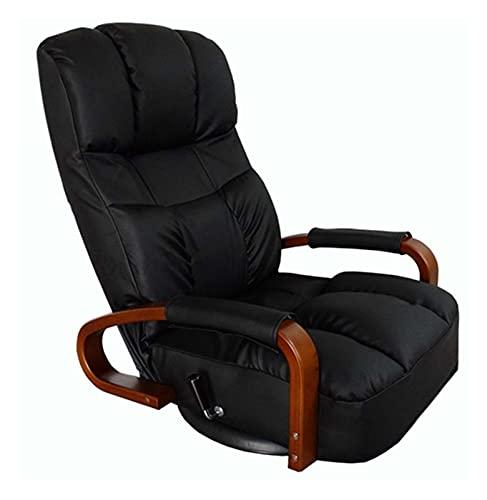 QILIYING Silla Lazy Sofa, Silla reclinadora giratoria de Piso 360 Grados Rotación de rotación Muebles de Sala de Estar Moderno Diseño japonés Sillón de Cuero Chaise Lounge by (Color : Black Color)