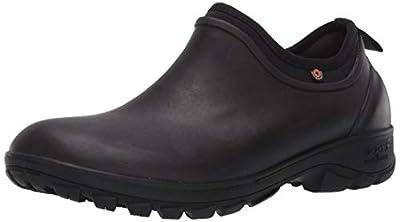 BOGS Men's Sauvie Slip On Waterproof Rain Shoe, Dark Brown, 10