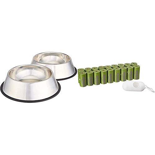 Amazon Basics - Comedero para Perro (Acero Inoxidable, 2 Unidades) + Bolsa Mejorada para heces de Perro con aditivos EPI y dispensador y...
