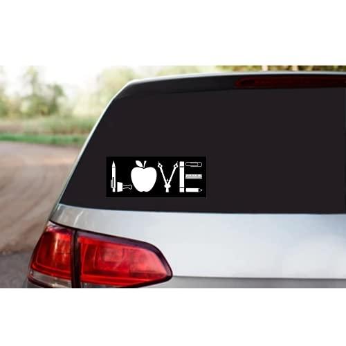 "Rohansson Retail & Deals Love Teacher 7.5""W White Vinyl Decal Sticker for Cars Trucks Vans / Laptop MacBook Compatible with All MacBook Pro, Clear Printed Decal Sticker RRD327"