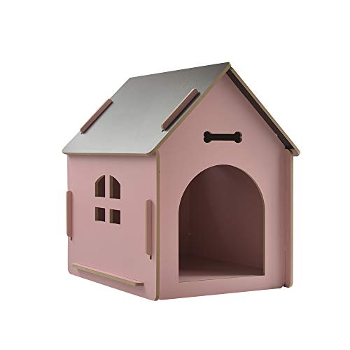 thematys Hundehütte aus Holz I Hunde-Haus für Drinnen und Draußen I Schlafplatz für Haustiere I Wetterfest und Kratzfest I Verschiedene Größen und Farben (L (58 x 44 x59 cm), Style 5)